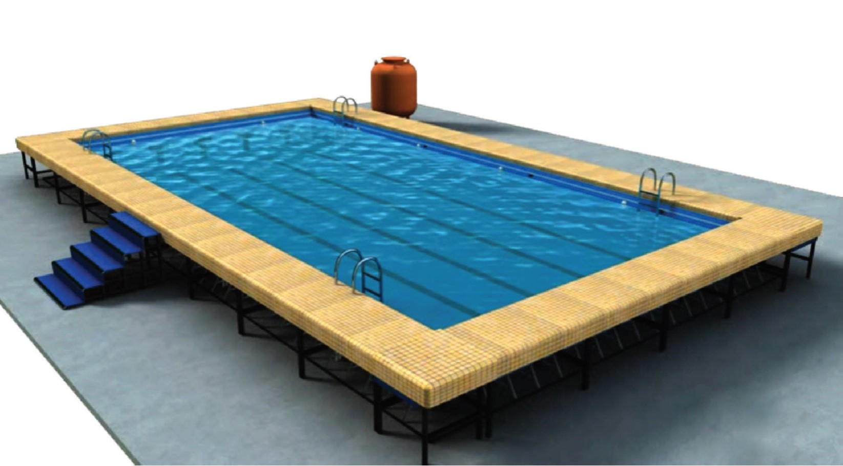 Image of: Above Ground Fiberglass Pool With Deck Kinder Sports